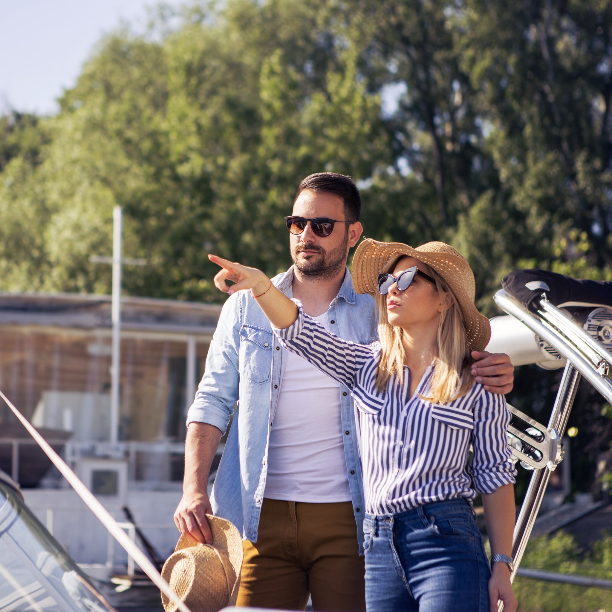 Young Couple Boat Shopping